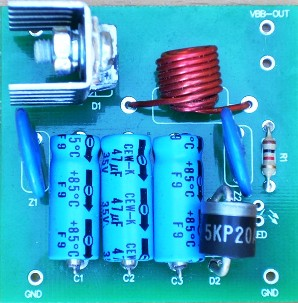 Power Supply Protection Circuit with LED Assembled PCB