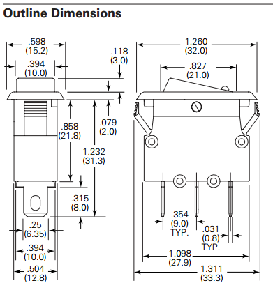 Circuit Breaker CBR Dimensions
